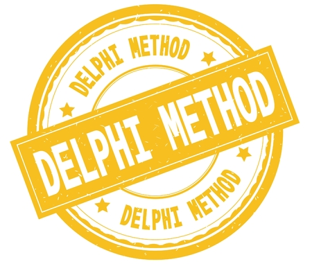 DELPHI METHOD , written text on yellow round rubber vintage textured stamp.
