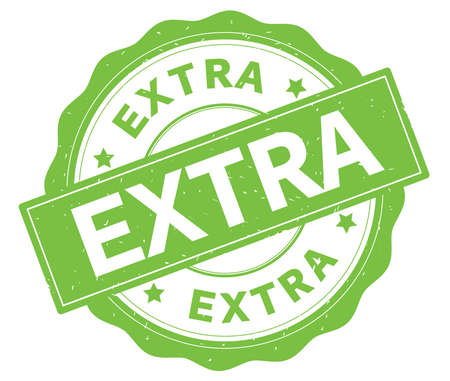 EXTRA text, written on green, lacey border, round vintage textured badge stamp.