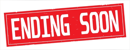 ENDING SOON text, on full red rectangle vintage textured stamp sign. Stock Photo