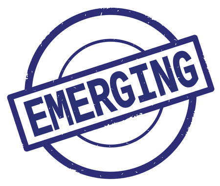 EMERGING text, written on blue simple circle rubber vintage stamp.