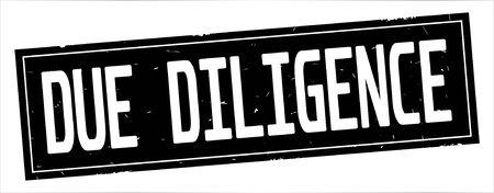 完全な黒い長方形のヴィンテージテクスチャスタンプ記号にDUE DILIGENCEテキスト。 写真素材