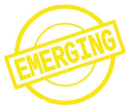 EMERGING text, written on yellow simple circle rubber vintage stamp. Stock Photo