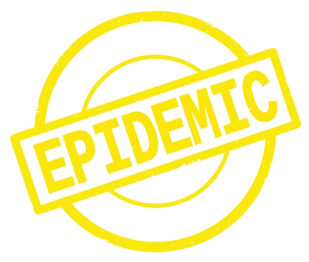 EPIDEMIC text, written on yellow simple circle rubber vintage stamp.