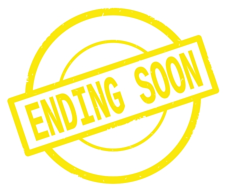 ENDING SOON text, written on yellow simple circle rubber vintage stamp.