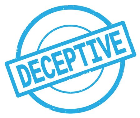 DECEPTIVE text, written on cyan simple circle rubber vintage stamp. Stock Photo