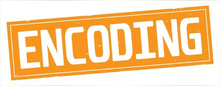 ENCODING text, on full orange rectangle vintage textured stamp sign. Stock fotó