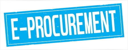 E PROCUREMENT text, on full cyan rectangle vintage textured stamp sign. Stock Photo