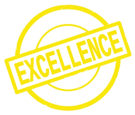 EXCELLENCE text, written on yellow simple circle rubber vintage stamp.