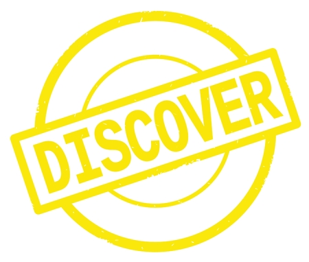 DISCOVER text, written on yellow simple circle rubber vintage stamp. Stock Photo