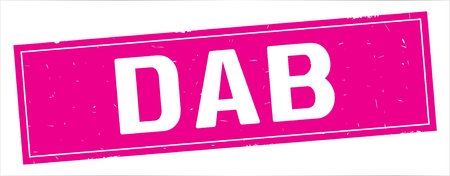 DAB text, on full pink rectangle vintage textured stamp sign.