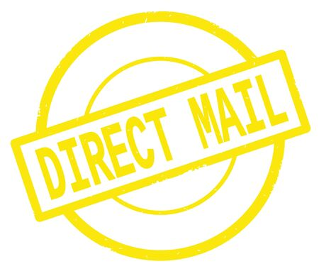 DIRECT MAIL text, written on yellow simple circle rubber vintage stamp. Stock Photo