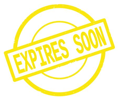 EXPIRES SOON text, written on yellow simple circle rubber vintage stamp.