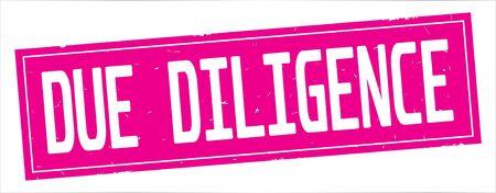 完全なピンクの長方形ヴィンテージテクスチャスタンプ記号にDUE DILIGENCEテキスト。
