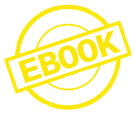 EBOOK text, written on yellow simple circle rubber vintage stamp.