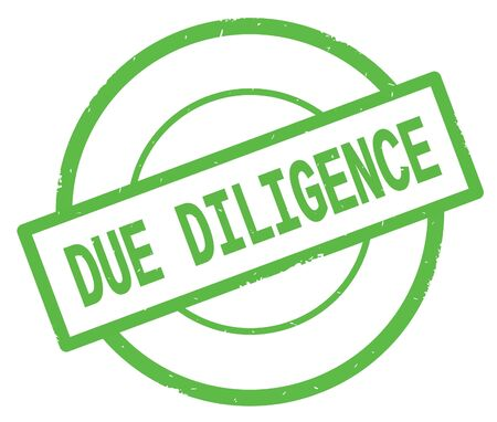 緑色のシンプルな円ゴムヴィンテージスタンプに書かれたDUE DILIGENCEテキスト。