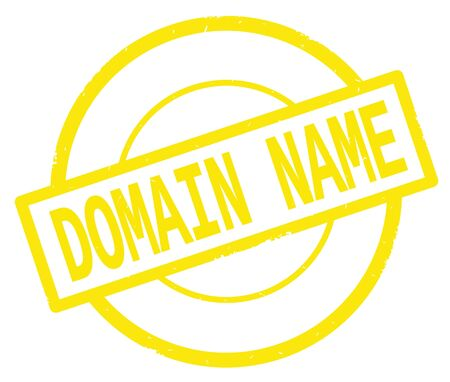 DOMAIN NAME text, written on yellow simple circle rubber vintage stamp.