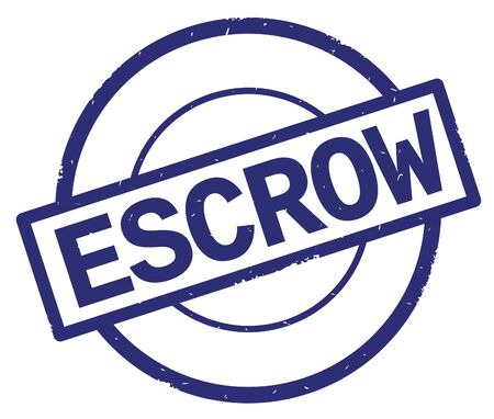 ESCROW text, written on blue simple circle rubber vintage stamp. Stock Photo