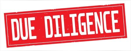 完全な赤い長方形のヴィンテージテクスチャスタンプ記号にDUE DILIGENCEテキスト。