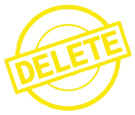DELETE text, written on yellow simple circle rubber vintage stamp. Stock Photo