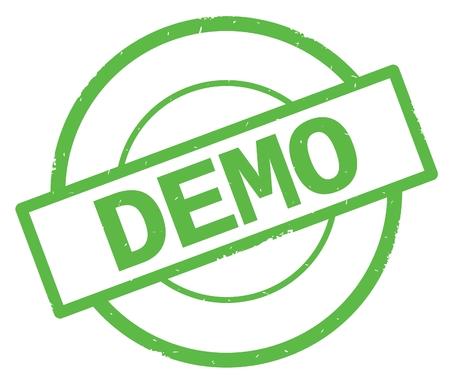 デモのテキスト、緑色のシンプルな丸ゴム製スタンプに書かれて。