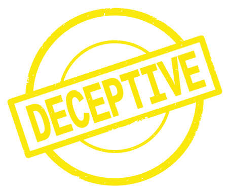 DECEPTIVE text, written on yellow simple circle rubber vintage stamp.