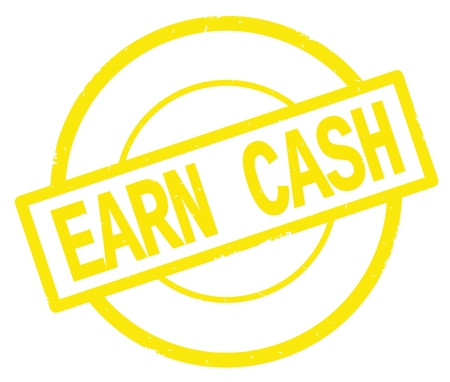 EARN CASH text, written on yellow simple circle rubber vintage stamp.
