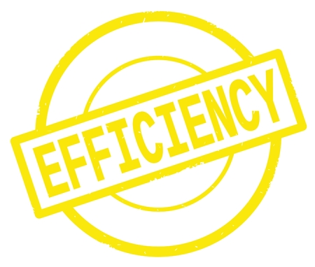EFFICIENCY text, written on yellow simple circle rubber vintage stamp.