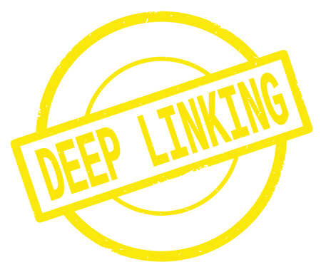 DEEP LINKING text, written on yellow simple circle rubber vintage stamp.