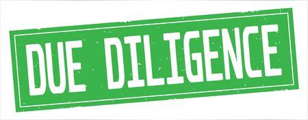 完全な緑色の長方形ヴィンテージテクスチャスタンプ記号にDUE DILIGENCEテキスト。