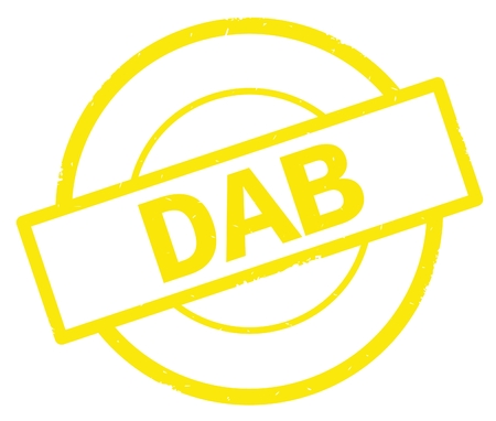 DAB text, written on yellow simple circle rubber vintage stamp.
