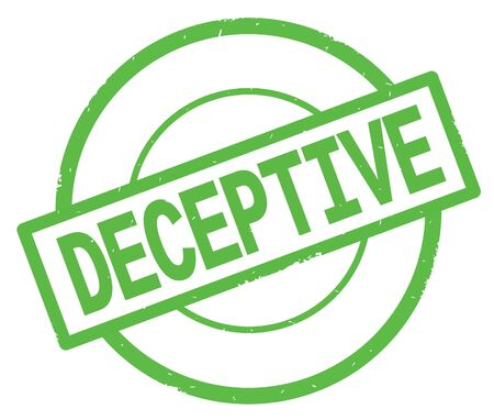 DECEPTIVE text, written on green simple circle rubber vintage stamp. Stock Photo