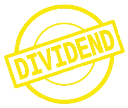 DIVIDEND text, written on yellow simple circle rubber vintage stamp. Stock Photo