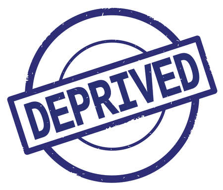 DEPRIVED text, written on blue simple circle rubber vintage stamp.