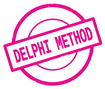 DELPHI METHOD text, written on pink simple circle rubber vintage stamp.