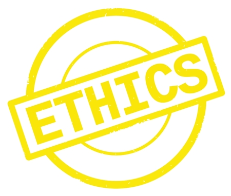 ETHICS text, written on yellow simple circle rubber vintage stamp. Banque d'images