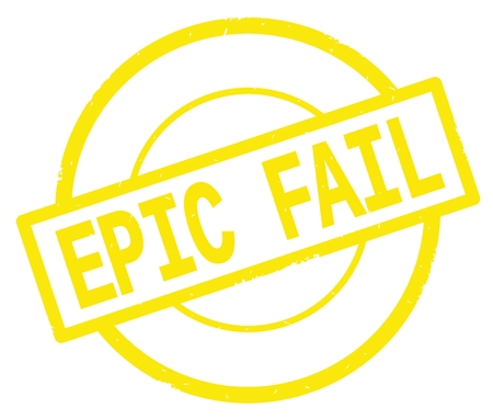 EPIC FAIL text, written on yellow simple circle rubber vintage stamp. Stock Photo