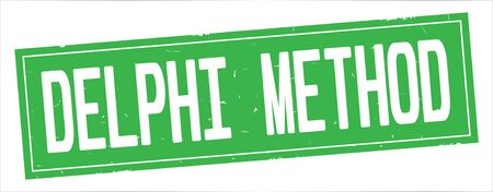 DELPHI METHOD text, on full green rectangle vintage textured stamp sign.