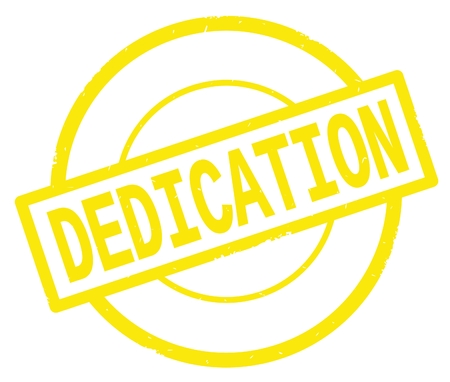 DEDICATION text, written on yellow simple circle rubber vintage stamp.