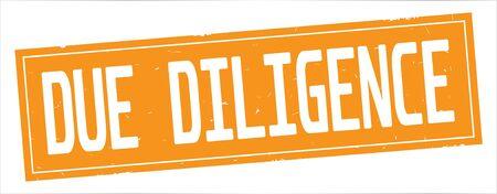 完全なオレンジ色の長方形ヴィンテージテクスチャスタンプ記号にDUE DILIGENCEテキスト。