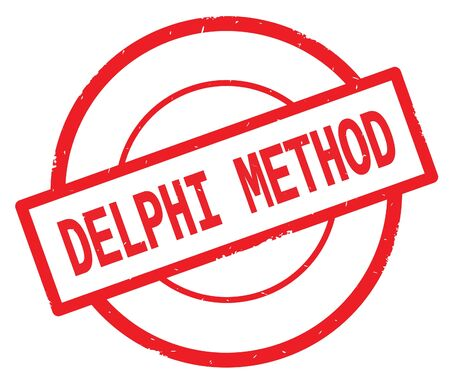 DELPHI METHOD text, written on red simple circle rubber vintage stamp. Stock Photo - 91291912