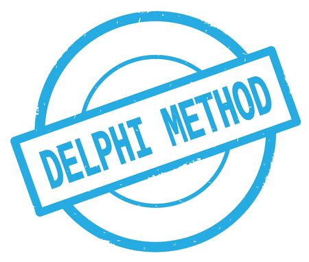 DELPHI METHOD text, written on cyan simple circle rubber vintage stamp. Stock Photo - 91291992
