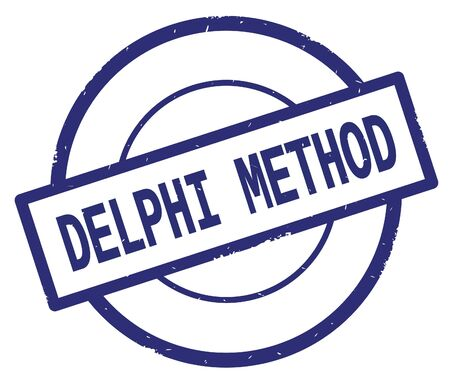 DELPHI METHOD text, written on blue simple circle rubber vintage stamp.