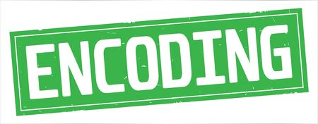 ENCODING text, on full green rectangle vintage textured stamp sign. Stock fotó