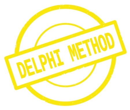 DELPHI METHOD text, written on yellow simple circle rubber vintage stamp.