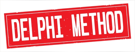 DELPHI METHOD text, on full red rectangle vintage textured stamp sign.