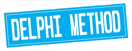 DELPHI METHOD text, on full cyan rectangle vintage textured stamp sign.