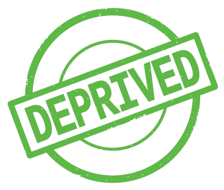 DEPRIVED text, written on green simple circle rubber vintage stamp.