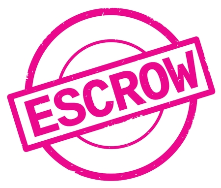 ESCROW text, written on pink simple circle rubber vintage stamp. Stock Photo