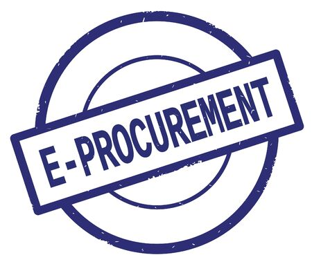 E PROCUREMENT text, written on blue simple circle rubber vintage stamp.