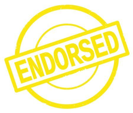 ENDORSED text, written on yellow simple circle rubber vintage stamp. Stock Photo